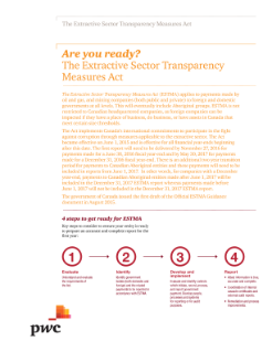Are you ready? The Extractive Sector Transparency Measures Act