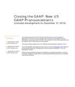 2014-01-07 Closing the GAAP: New US GAAP Pronouncements (includes developments to December 31, 2013)