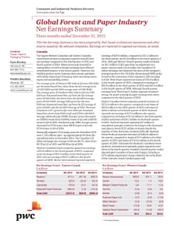 Global Forest and Paper Industry: Net Earnings Summary — Three months ended December 31, 2015