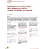 Tax Insights: Foreign Income Verification Statement (Form T1135) – Transitional rules announced