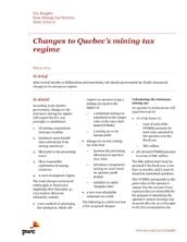Tax Insights: Changes to Quebec's mining tax regime