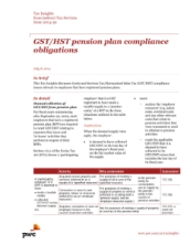 Tax Insights:  GST/HST pension plan compliance obligations