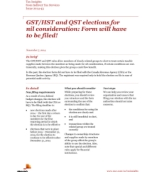 Publication cover for 'Tax Insights: GST/HST and QST elections for nil consideration – Form will have to be filed!'