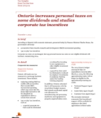 Tax Insights: Ontario increases personal taxes on some dividends and studies corporate tax incentives