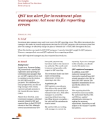 Publication cover for 'Tax Insights: QST tax alert for investment plan managers: Act now to fix reporting errors'