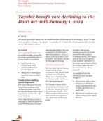 Tax Insights: Taxable benefit rate declining to 1%: Don't act until January 1, 2014