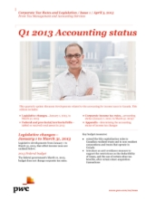 Corporate Tax Rates and Legislation: Q1 2013 Accounting Status