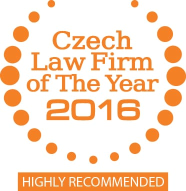 Highly recommended Czech Law Firm of The Year 2016 - award