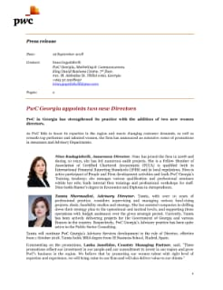 PwC Georgia Director announcement Press Release ENG