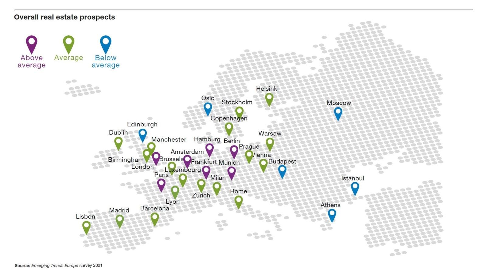 Carte mondiale des tendances émergentes dans l'immobilier.