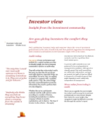 Investor View  - Are you giving investors the comfort they need?