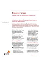 Investor View  - Why is use of clear language important in financial statements?
