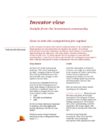 Investor View  - How to win the competition for capital