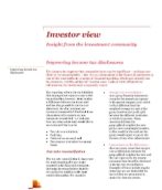 Investor View  - Improving income tax disclosures