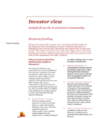 Investor View  - Investors value information on business funding