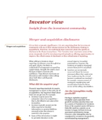 Investor View  - Merger and acquisition disclosures