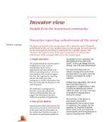 Investor View  - Narrative reporting: cohesiveness of 'the story'