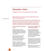 Investor View  - Operating segments: improving disclosure from the bottom up