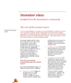 Investor View  - The role of the annual report