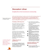 Investor View  - What the CRUF looks for in corporate reports