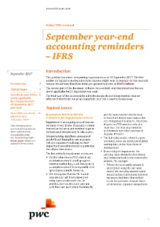 IFRS accounting reminders for September year ends; 2017 requirements