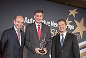 Eric Auzepy, COO of Plastic Omnium accepts his award for European Parts Supplier, in 3 years.