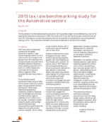 Automotive Tax Insights: 2013 tax rate benchmarking study for the Automotive sectors