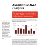 Automotive M&A Insights report: European debt crisis casts shadow on global M&A but also presents a unique window of opportunity