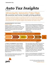Advancing the automotive value chain: Re-examine and revise transfer pricing policies