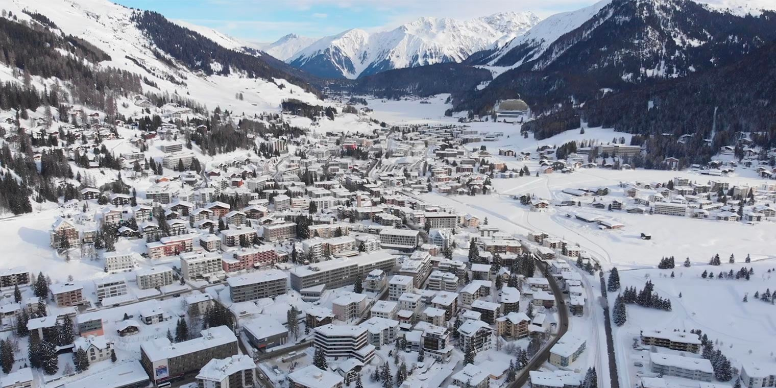 Arial view of Davos-Klosters covered in snow