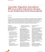 Global Watch: Australia: Migration Amendment Bill 2013 makes important changes to 457 temporary work visa program