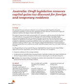 Global Watch: Australia: Draft legislation removes capital gains tax discount for foreign and temporary residents