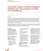 Global Watch: Australia: Labour market testing for subclass 457 visa program to begin on November 23