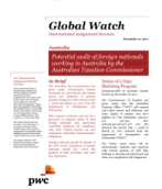 Global Watch: Australia - Potential audit of foreign nationals working in Australia by the Australian Taxation Commissioner