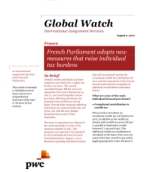 Global Watch: France - French Parliament adopts new measures that raise individual tax burdens