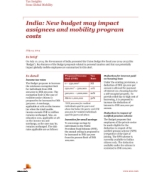 Insights from International Assignment Services: India: New budget may impact assignees and mobility program costs
