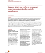 Global Watch: Japan: 2013 tax reform proposal may impact globally mobile employees