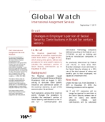 Global Watch: Brazil - Changes in Employer's portion of Social Security Contributions in Brazil for certain sectors