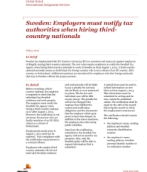 Global Watch: Sweden: Employers must notify tax authorities when hiring third-country nationals