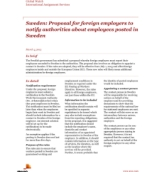 Global Watch: Sweden: Proposal for foreign employers to notify authorities about employees posted in Sweden