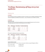 Global Watch: Turkey: Summary of key 2013 tax updates
