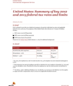 Global Watch: United States: Summary of key 2012 and 2013 federal tax rates and limits