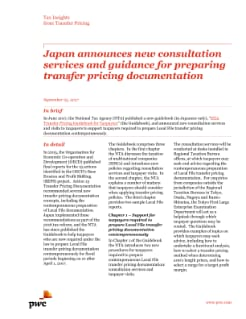 Japan announces new consultation services and guidance for preparing transfer pricing documentation