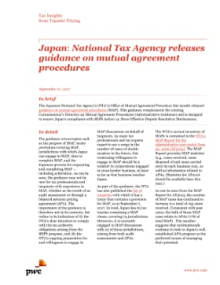 Japan: National tax Agency releases guidance on mutual agreement procedures
