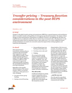 Transfer pricing – Treasury function considerations in the post-BEPS environment