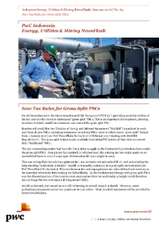 Energy, Utilities & Mining NewsFlash No.63/2018 - New Tax Rules for Gross Split PSCs