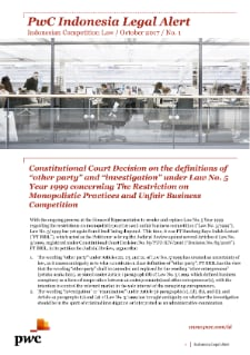 PwC Indonesia Legal Alert - Indonesian Competition Law Vol.01/October 2017
