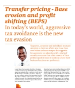 Transfer pricing - Base erosion and profit shifting (BEPS)