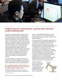 Robotic process automation: A primer for internal audit professionals