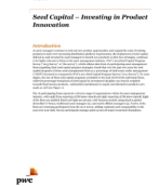 Seed capital: Investing in product innovation